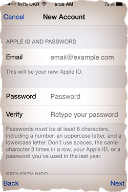 Create Apple ID e-mail