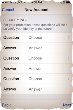 Apple ID security info
