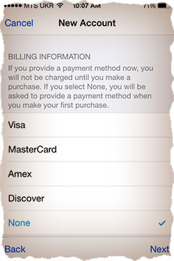 Apple ID billing info