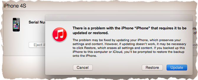 Restoring an iPhone in recovery mode