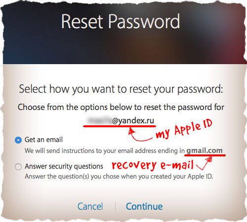 Reset forgotten Apple ID password and login