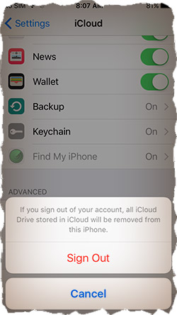 Sign Out from iCloud