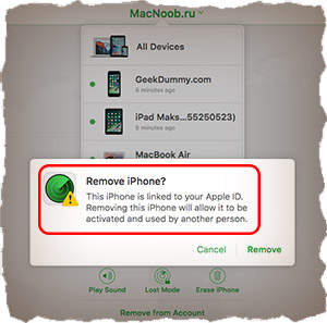 Delete iPhone from iCloud