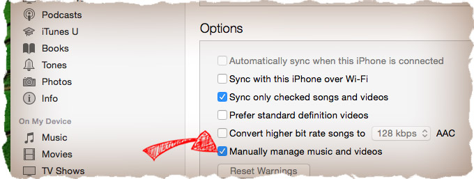 Manually manage music on iPhone