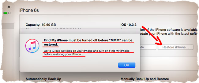 Find my iPhone must be turned off