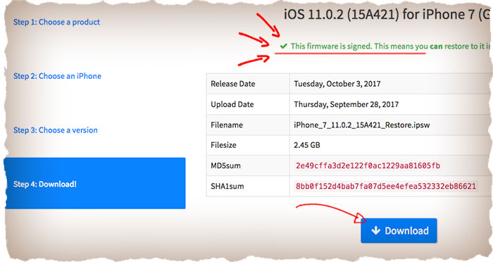 How to downgrade iOS to previous version
