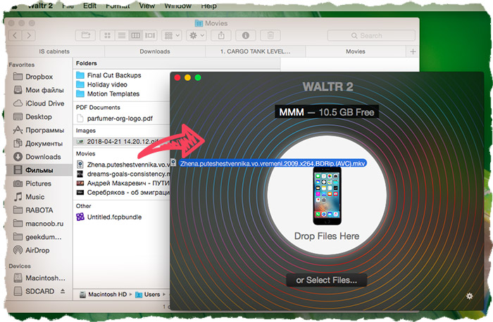 Transfer video with WALTR