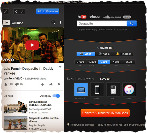 Softorino YouTube video save to iPhone