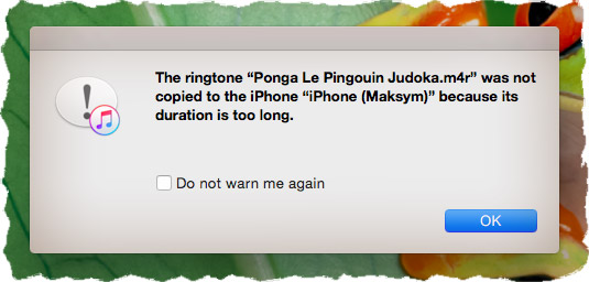 The ringtone was not copied