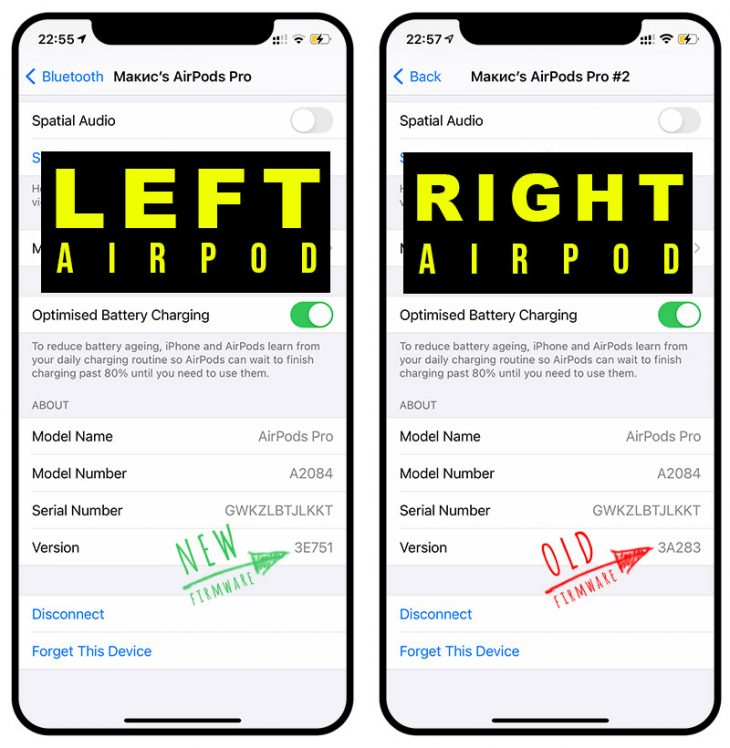 AirPods firmware difference - not working